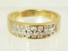 0.26ct G Si2 DIAMONDS 4,3g GOLD CHUNKY WEDDING BAND RING N7 JEWELLERS OLD STOCK