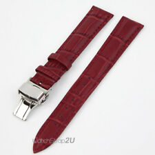 Crocodile Grain Leather Red Watch Band Strap Push Button Deployment Clasp