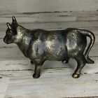 Vintage Solid Cast Iron Bull Statue