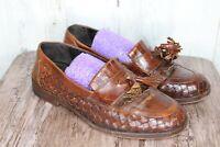 Bragano 7.5 M Brown Leather Basketweave Loafers Tassel Men's Shoes