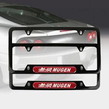 2Pcs JDM MUGEN Black Stainless Steel License Plate Frame Red Carbon Fiber Emblem