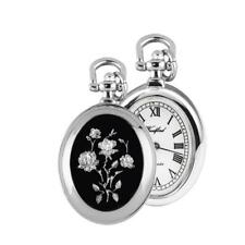 """Woodford 1226 Chrome Plated Quartz Oval Pendant Watch On 28"""" Chain Necklace"""