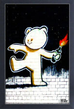 BANKSY FIREBOMB TEDDY 13x19 FRAMED GELCOAT POSTER STREET ART ARTIST PAINT LONDON