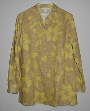 NWT  Worlds Apart BUTTON FRONT SHIRT & TANK SET, TAUPE/LIME FLORAL LINEN SMALL S