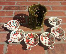 UNIQUE Vintage Porcelain Ceramic Stackable 6 Ashtrays w/ Holder Tie Dye 50's 60s