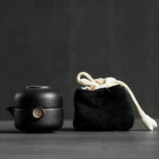Black Ceramic Chinese Gongfu Teapot Teacup Travel Tea Set in Cotton Storage Bag