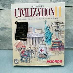Civilization II Big Box Windows 95 CD-Rom 1996 Vintage CIB Excellent Condition
