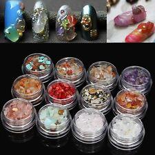 12 Colors 3D Nail Art Natural Crystal Gem Stones Jade Gravel Decoration Set