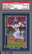2010 Cedar Rapids Kernels Rising Alumni #1 Mike Trout RC Rookie PSA 10 GEM MINT