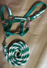 New Nylon Halter larger pony green with white overlay w/matching lead