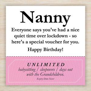 Lockdown Funny Rude Happy Birthday Card Nanny Nan  Babysitting Voucher! Freepost