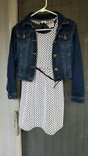 Girls sleeveless dress and jean jacket Size 10/12 Fall Used