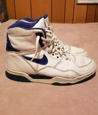 1989 Nike Air Delta Force Basketball Shoes White Blue Leather Men's Size 12