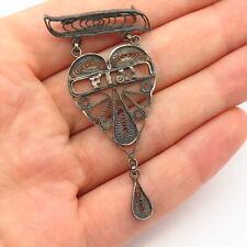 """925 Sterling Silver Vintage """"Fiji"""" Filigree Heart Design Pin Brooch"""
