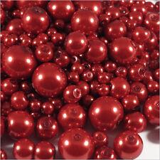 Lot de perles Nacrées en verre 4-12mm Mix Rouge 100g