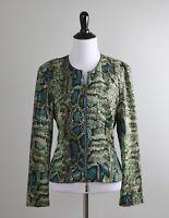 JOSEPH RIBKOFF $178 Stretch Sparkle Paillettes Snake Python Jacket Top Size 10