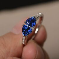2ct Trillion Cut Blue Tanzanite Two Stone Engagement Ring 14k White Gold Finish