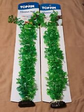 """New listing Aquarium Fish Tank Top Fin Green Seaweed 20"""" Plant Decoration With Base"""