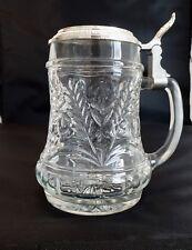 Bierkrug Glas mit Zinndeckel,Original BMF made in Germany Aufdruck Erich