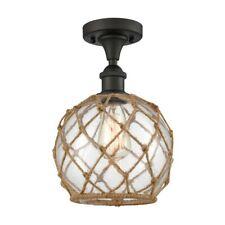 """Innovations Brown Rope 8"""" Semi-Flush, Amber/Bronze/Sphere - 516-1C-OB-G122-8RB"""
