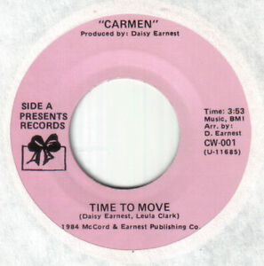 """Carmen-Time To Move-Northern Modern 80's Boogie Soul 7""""-US Presents issue copy"""