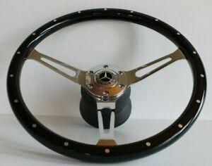 Steering Wheel fits Mercedes Benz Wood Black W114 W115 W116 W123 R107 1971-1978