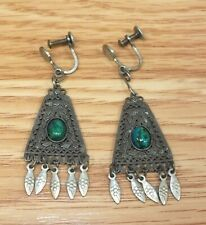 925 Vintage Style Aztec Design Blue Stone Screw Back Fashion Earrings *READ*