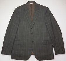 Belvest Sport Jacket 44R Checked Green Blue Mens Size Wool Silk Linen Side Vents