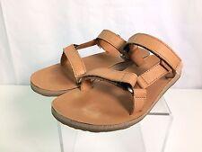 Teva 9614 Womens Tan Leather Flat Slide Sandals Shoes 10 Medium (B,M)