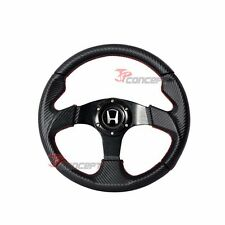 For 96-00 Civic 320mm Steering Wheel Black Carbon PVC Leather Red Stitch + Hub