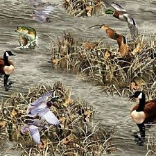 """Realtree Hunting Ducks Geese Fish Allover 100% cotton 44"""" fabric by the yard"""