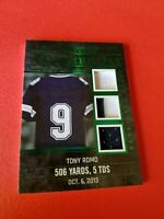 TONY ROMO GAME USED JERSEY PATCH CARD #d4/4 LEAF ITG CAREER DAY DALLAS COWBOYS