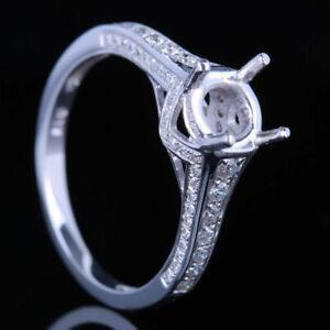 Fine Jewelry 6.5mm Round Full 0.4CT Diamonds Semi Mount Gift Ring 14K White Gold