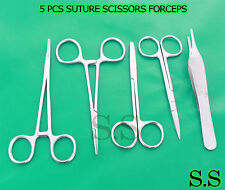 5 PCS SUTURE SCISSORS FORCEPS HEMOSTATS NEEDLE HOLDERS SURGICAL INSTRUMENTS