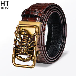 USA Red Burgundy Leather Mens Belts Automatic Buckles Scorpion Waistband Leisure