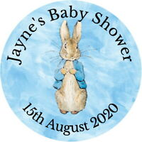 PETER RABBIT PERSONALISED GLOSS BABY SHOWER LABELS, CHRISTENING PARTY STICKERS