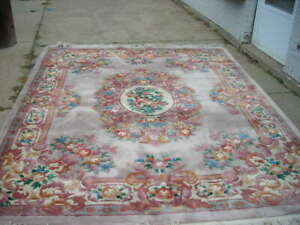 STUNNING ULTRA COLORFUL VINTAGE SCULPTED AUBUSSON CHINESE RUG 8X10