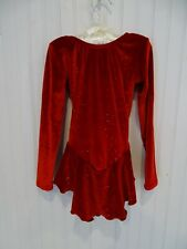 Sparkly Motionwear Red Velvet Figure Ice Skating Dress Costume girls 6x-7