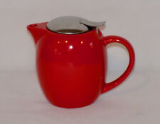 Red Ceramic Pitcher with Stainless Lid 3 Cup Vintage