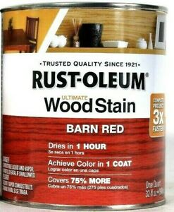 1 Cans Rust-Oleum 32 Oz Ultimate Wood Stain 330108 Barn Red Dries In 1 Hour