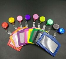 2 in 1 ID Badge Holder Retractable Reel Horizontal or Vertical PU Leather