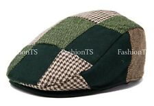 Multi Pattern Patchwork Wool Blend Gatsby Newsboy Ivy Hat Herringbone Golf Cap