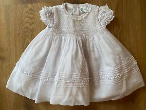 Sarah Louise White Hand Smocked 6 Months Vintage Dress