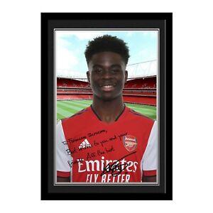 Personalised Bukayo Saka Message Autograph Photo Arsenal FC Fan Official Gift