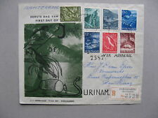 SURINAME, R-cover FDC 1954, fishing wood parrot reptile armadillo bauxiet