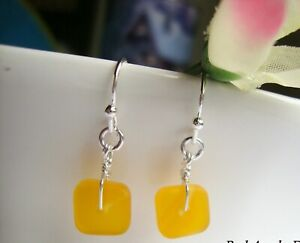 Square Yellow Frosted Sea Glass Silver Dangle Earrings Beach Boho Resort