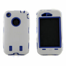 Apple iPhone 3 3S 3G White & Blue Body Armor Defender Hard Plastic Case Cover