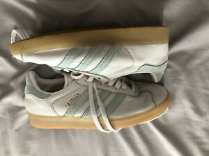 SIZE 4 WHITE AND MINT  ADIDAS GAZELLE TRAINERS ..80'S CASUALS.. TERRACE WEAR