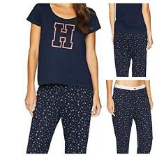 18cf0ef7 NWT TOMMY HILFIGER Women Logo Pajama Set Short Sleeve Top/Pants Navy SELECT  SIZE