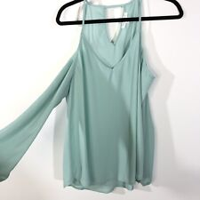 Socialite Size Large Cold Shoulder Blouse Long Sleeve V-neck Shirt Blue
